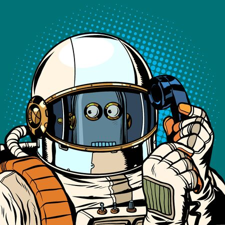 Robot astronaut talking on the phone. Pop art retro vector illustration drawing