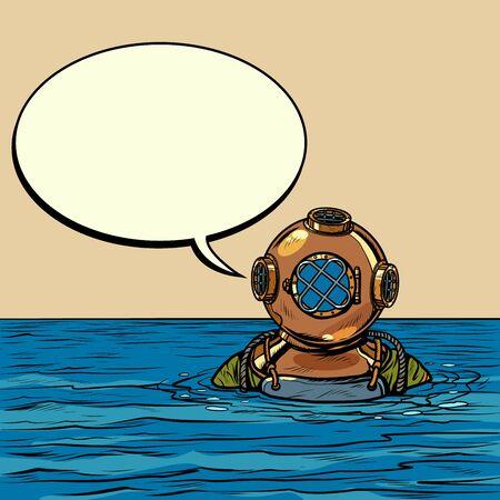 buzo de aguas profundas retro en casco de metal. Dibujo de ilustración vectorial de arte pop