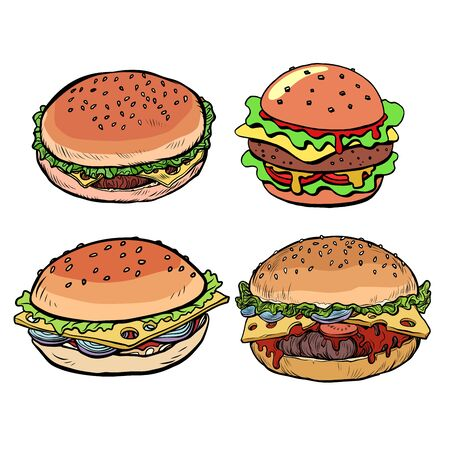 set collection Burger hamburger cheeseburger Ilustracja