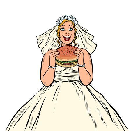 La sposa mangia l'hamburger degli alimenti a rapida preparazione. donna affamata