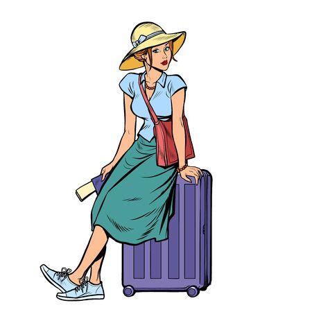 woman tourist sitting on a travel suitcase. Pop art retro vector illustration drawing Illustration