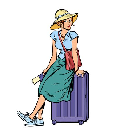 woman tourist sitting on a travel suitcase. Pop art retro vector illustration drawing Ilustração