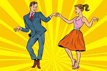 bailarines retro, pareja, hombre y mujer