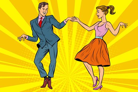 retro dancers couple man and woman Ilustração