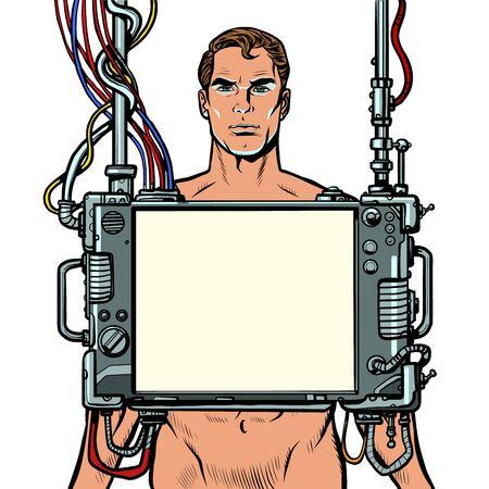 medical examination of men, internal organ scan screen tool Illustration