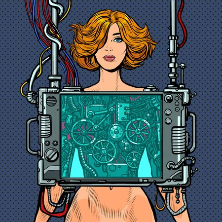 Cyberpunk naked robot woman virtual reality concept