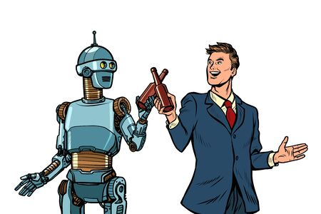 Businessman and robot cheers beer bottles. technological development concept. it industry