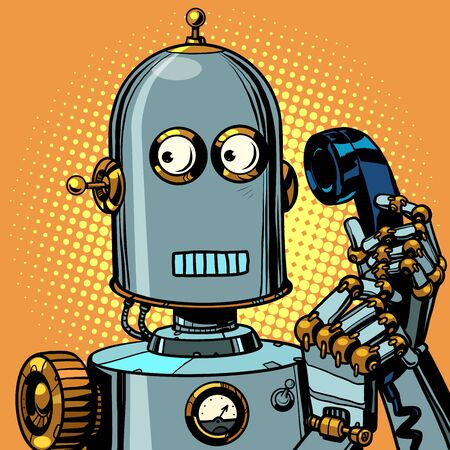 scared funny robot talking on a retro phone
