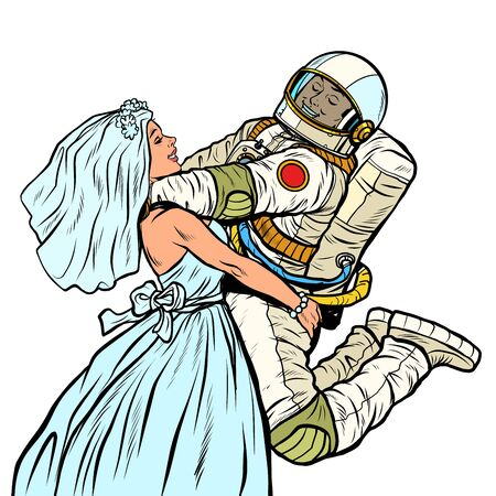bride and groom at the wedding. astronaut and his wife Ilustração
