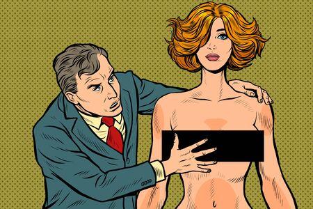嫌がらせ。男性ビジネスマンは女性を手探り。受け入れられない動作。労働倫理の侵害