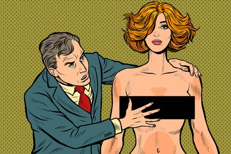 harassment. male businessman groping a woman. unacceptable behavior. violation of work ethics