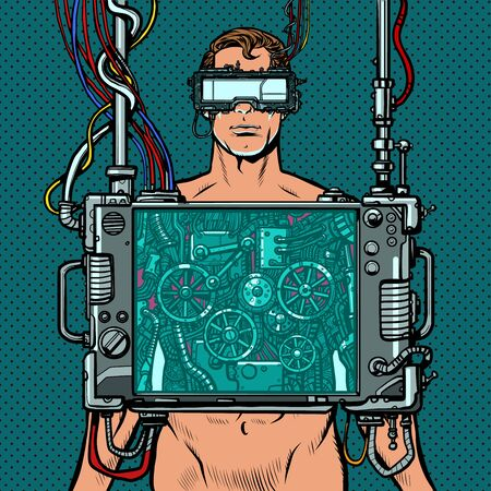 cyberpunk male robot wearing virtual reality glasses