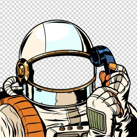 The astronaut is talking on the phone. empty spacesuit template 向量圖像