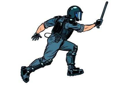 riot policeman attacks with a baton. police work. authoritarian and totalitarian regimes concept Illustration