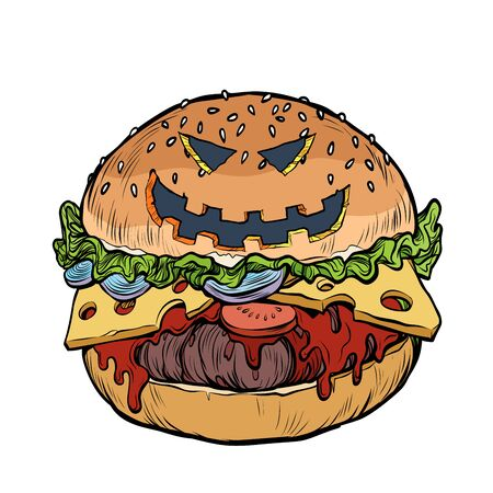 Burger fast food with Halloween pumpkin face Ilustracja