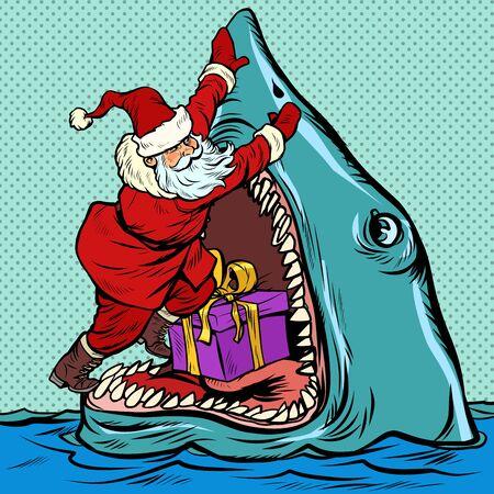 Santa Claus pushes Christmas gift into shark mouth Ilustração