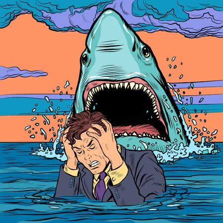 The shark attacks the businessman. Man afraid Illustration