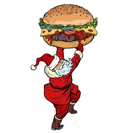 Santa Claus with Burger. Christmas menu fast food restaurant concept