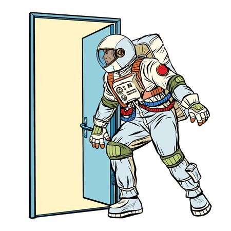 astronaut opens the door to the unknown Standard-Bild - 131397773