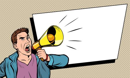 advertising poster. man with megaphone