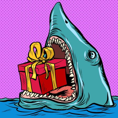 Shark with a gift box. Holiday shopping Christmas Valentines day birthday