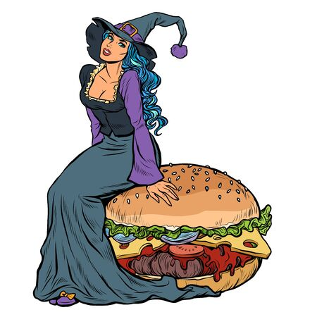 Halloween witch sitting on a Burger. Festive menu in the restaurant Illustration