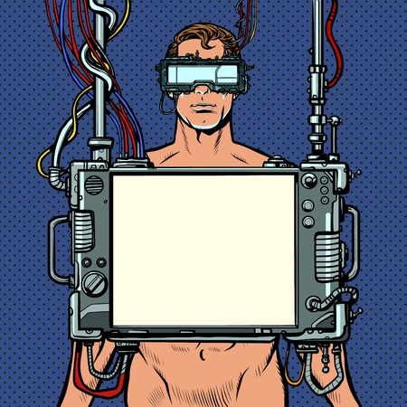 medical research. Cyberpunk naked man virtual reality concept. Pop art retro vector illustration drawing vintage kitsch