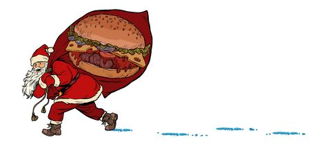 Santa with a Burger fast food. Christmas and New year. Pop art retro vector illustration kitsch vintage drawing 向量圖像