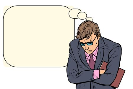 sad businessman. failures stress at work. Pop art retro vector illustration drawing vintage kitsch
