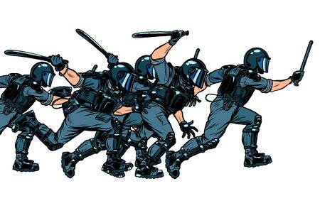Squadra di polizia. concetto di regime autoritario e totalitario. Disegno di illustrazione vettoriale retrò pop art Vettoriali