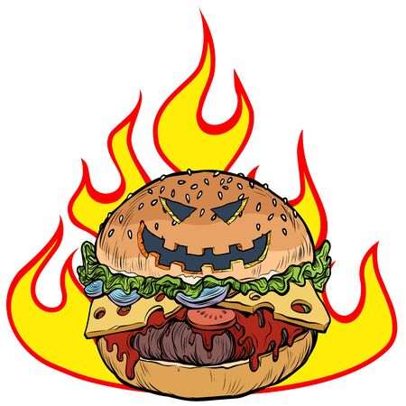 Halloween Burger in the flames of hell. Hot food. Pop art retro vector illustration kitsch vintage drawing