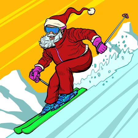 Skier day rides from the mountain Santa Claus character merry Christmas and happy new year. Pop art retro vector illustration vintage kitsch drawing 50s 60s Illustration