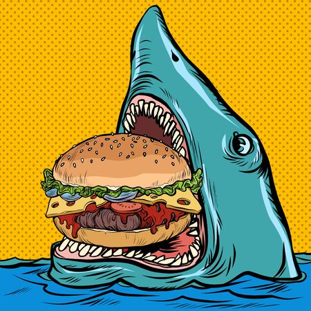 Hungry shark eating a Burger. fast food restaurant concept. Pop art retro vector illustration kitsch vintage drawing