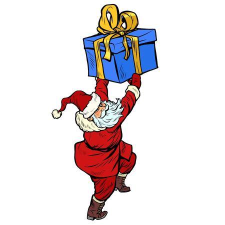 Santa Claus with Christmas gift box. Pop art retro vector illustration kitsch vintage drawing