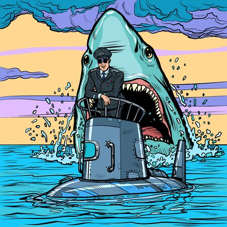 Captain of the submarine. Shark attack. Pop art retro vector illustration drawing