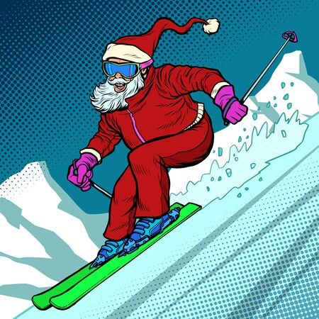 Skier evening rides down the mountain. Santa Claus character merry Christmas and happy new year. Pop art retro vector illustration vintage kitsch drawing 50s 60s