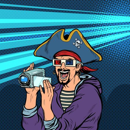 pirate shoots and watches adventure movies