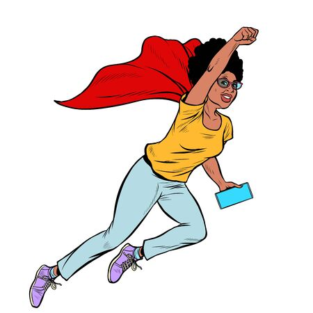 african superhero flying active strong Woman grandmother pensioner elderly lady