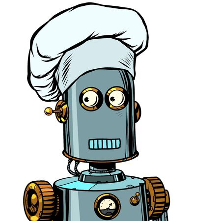Robot cook food, takes orders at the restaurant Illustration