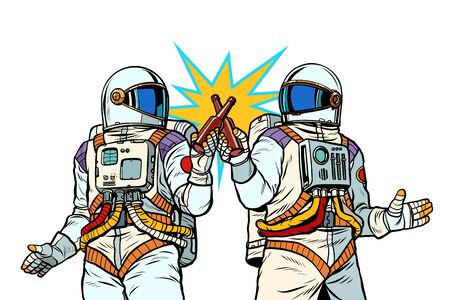 Two astronauts drink beer. Male friendship Illustration