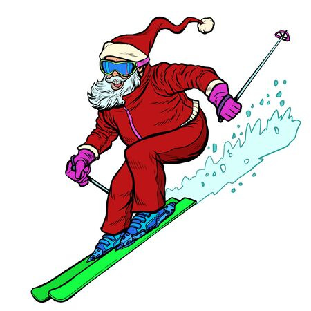 Santa Claus character goes skiing merry Christmas and happy new year