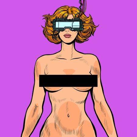 virtual sex cyberpunk. naked woman in cyberspace Banque d'images - 133923886