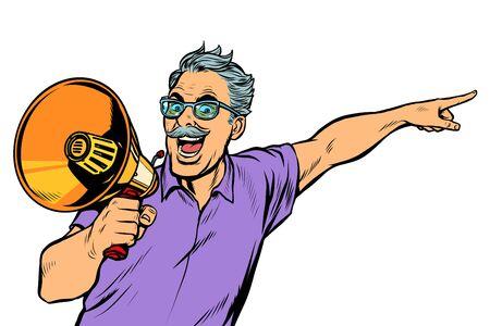 an elderly man with a megaphone