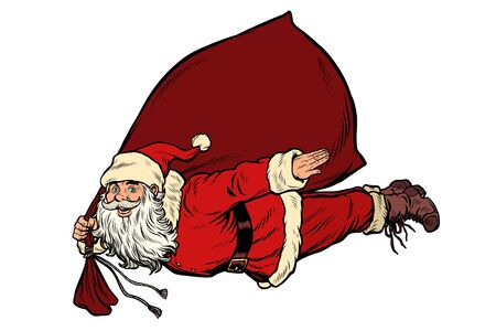 Santa Claus superhero is flying with a bag of gifts Illustration