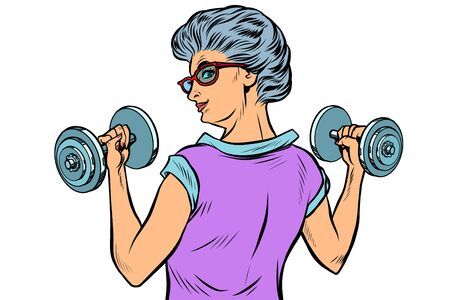 fitness dumbbells sport activity Woman grandmother pensioner elderly lady 일러스트