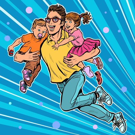 dad superhero flies and carries his daughter and son in his arms. paternity Stock fotó - 133950074