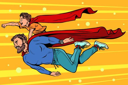 dad and son are superheroes. fatherhood and childhood Illustration
