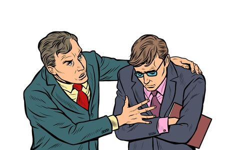Male businessman consoling colleague. Pop art retro vector illustration drawing vintage kitsch  イラスト・ベクター素材