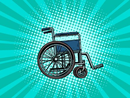 empty wheelchair. human health, rehabilitation and inclusion. pop art retro vector illustration kitsch vintage drawing 50s 60s