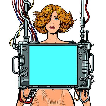 examen médico de mujeres, herramienta de pantalla de exploración de órganos internos. Ilustración de vector retro pop art dibujo kitsch vintage Ilustración de vector